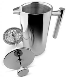 stainless steel coffee press with impeccable finish