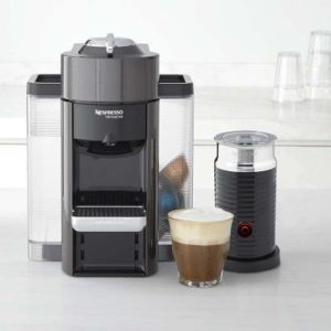 graphite metal espresso machine with milk frothing system