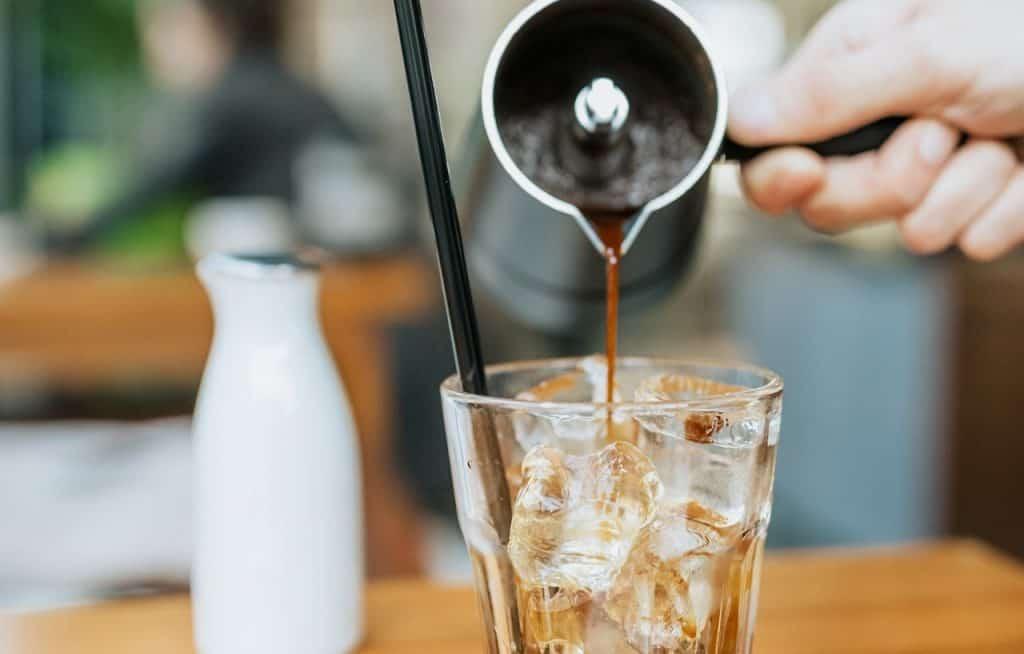 pour espresso over ice